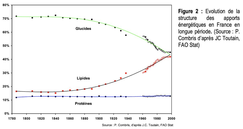 Evolution des la structure des apports énergétiques en France en longue période